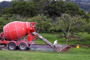 truck pouring mixed concrete floor